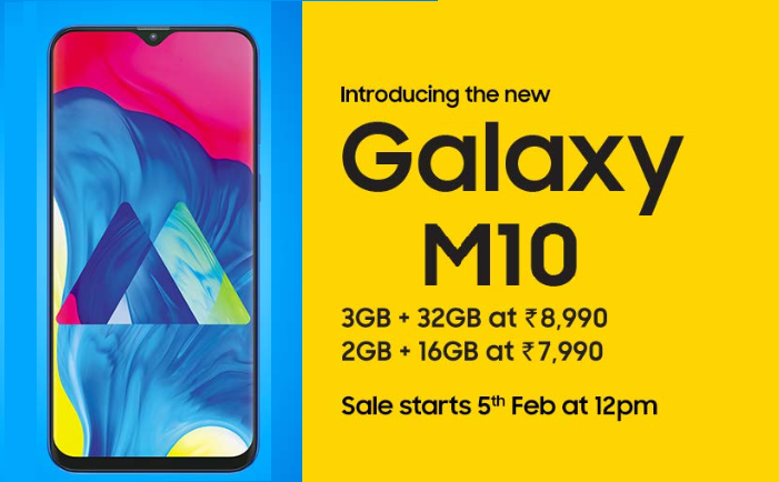 Samsung's New Infinity V Displays Smartphone Galaxy M10 Launched